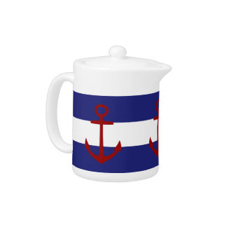 Nautical Blue and Stripes with Red Anchors Teapot