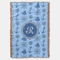 Nautical Blue and White Anchor Pattern Monogram Throw Blanket