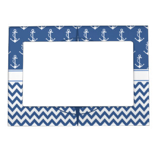 nautical blue and white chevron and anchor pattern magnetic photo frame - Nautical Frames