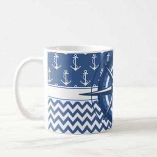 Nautical Blue and White Chevron and Anchor Pattern Classic White Coffee Mug