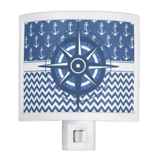 Nautical Blue and White Chevron and Anchor Pattern Night Light