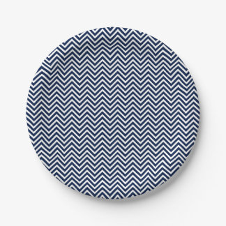 Nautical Blue and White Chevron Holidays Paper Plate