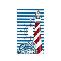 Nautical Blue and White Horizontal Stripe Light Switch Cover