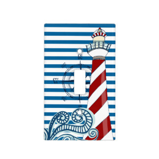 Nautical Blue and White Horizontal Stripe Switch Plate Covers