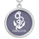 Nautical Blue And White Ships Anchor And Rope Round Pendant Necklace