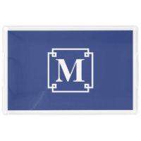 Nautical Blue and White Smart Monogram Acrylic Tray