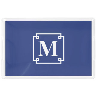 Nautical Blue and White Smart Monogram Rectangle Serving Trays