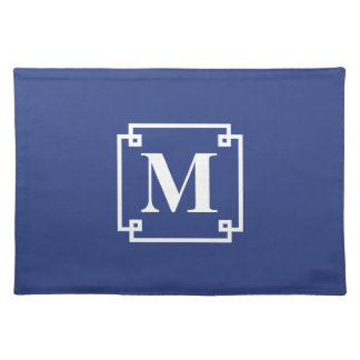 Nautical Blue and White Smart Monogram Cloth Placemat