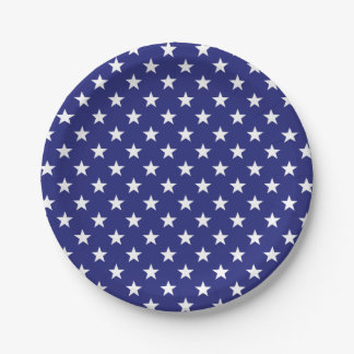 Nautical Blue and White Stars Paper Plate
