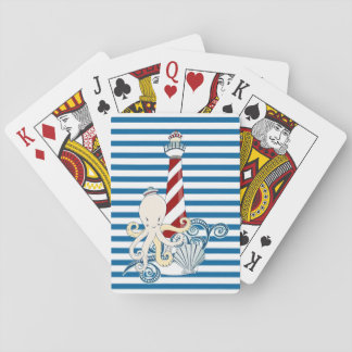 Nautical Blue and White Stripe Cards Playing Cards