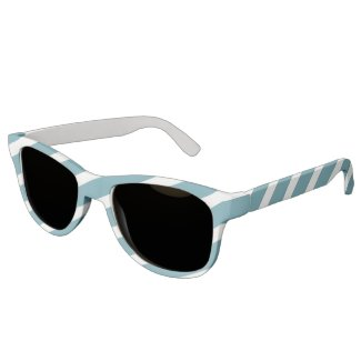 Nautical Blue and White Stripe Diagonal Sunglasses