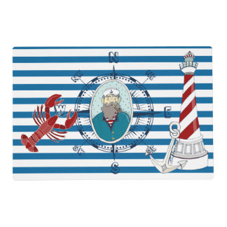 Nautical Blue and White Stripe Placemat Laminated Placemat