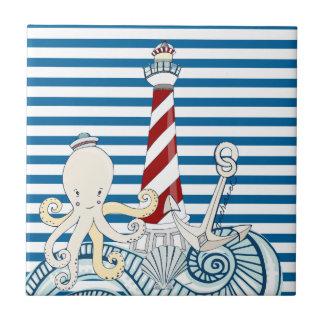 Nautical Blue and White Stripe Tile