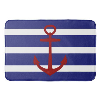 Nautical Blue and White Stripe with Red Anchor Bathroom Mat