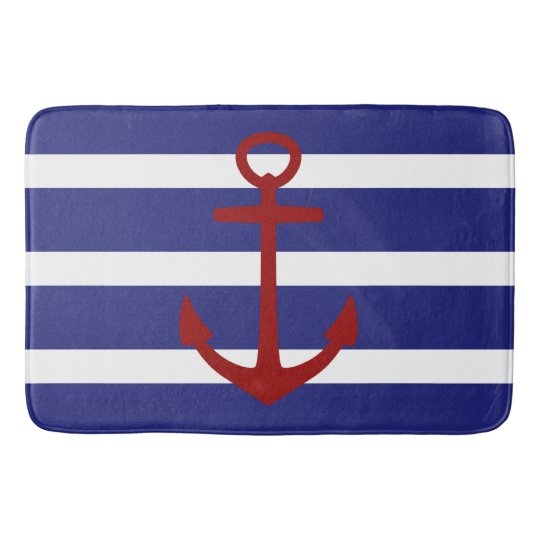 Nautical Blue And White Stripe With Red Anchor Bathroom