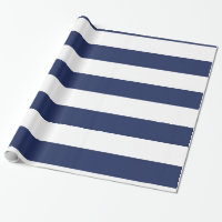 Nautical Blue And White Striped Wrapping Paper
