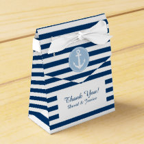 Nautical blue and white stripes wedding favor box