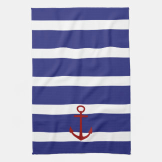 Nautical Blue and White Stripes with Red Anchor Kitchen Towel