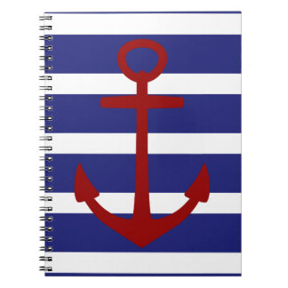 Nautical blue and White Stripes with Red Anchor Notebook