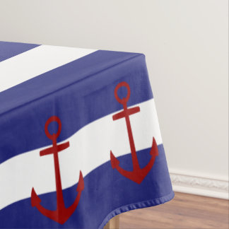 Nautical Blue And White Stripes With Red Anchors Tablecloth