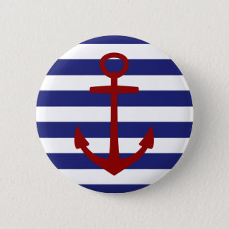 Nautical Blue and White Stripeswith Red Anchor Pinback Button