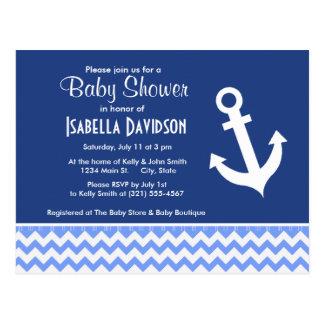 Nautical Blue Chevron Postcard