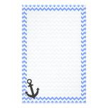 Nautical Blue Chevron Stationery Paper