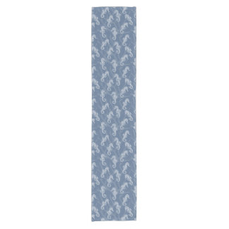 Nautical Blue Coral Reef Seahorse Short Table Runner