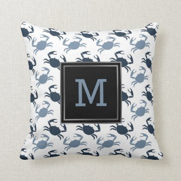Beach Themed Nautical Blue Crabs Pattern Monogram Beach Throw Pillow
