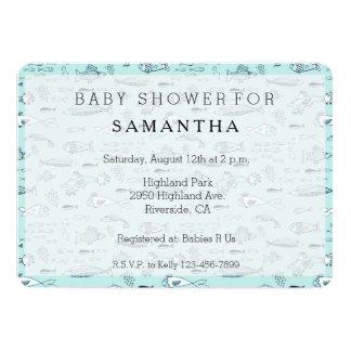 Nautical Blue Fish baby shower Card