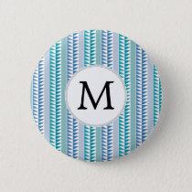 nautical Blue Geometrical Pattern custom monogram Button