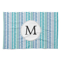 nautical Blue Geometrical Pattern custom monogram Hand Towel