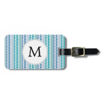 nautical Blue Geometrical Pattern custom monogram Luggage Tag