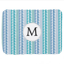 nautical Blue Geometrical Pattern custom monogram Stroller Blanket