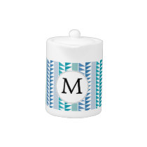 nautical Blue Geometrical Pattern custom monogram Teapot