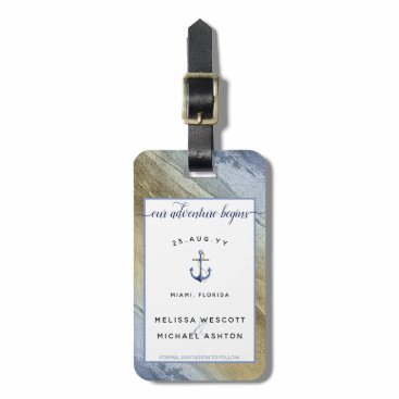 #Nautical Blue & Gold #Wedding Save the Date Bag Tag