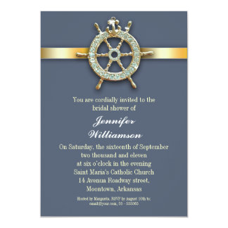 nautical blue golden bridal shower invitations