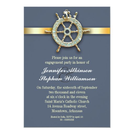 nautical blue golden engagement party invitations