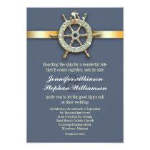 nautical blue golden wedding invitations