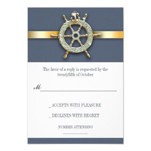Nautical Blue Golden Wedding RSVP Cards