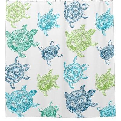 Sea Turtles White Blue Green Shower Curtain   Zazzle