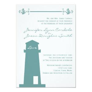 Nautical Blue Lighthouse Beach Wedding Invitations 5