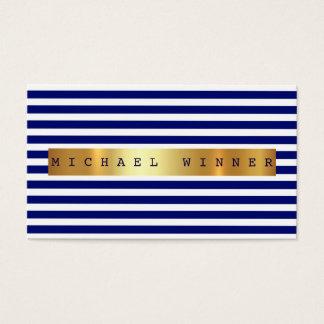 Nautical Blue Marine White Stripes Vip Golden Foil Business Card