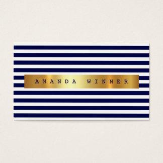 Nautical Blue Marine White Stripes Vip Golden Glam Business Card