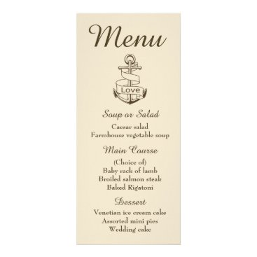 Beach Themed Nautical Blue Menu Ship Anchor Brown Wedding
