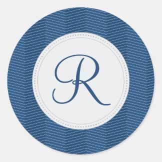 Nautical Blue Monogram Thin Chevron Pattern Classic Round Sticker