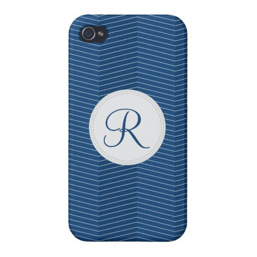 Nautical Blue Monogram Thin Chevron Pattern iPhone 4/4S Covers
