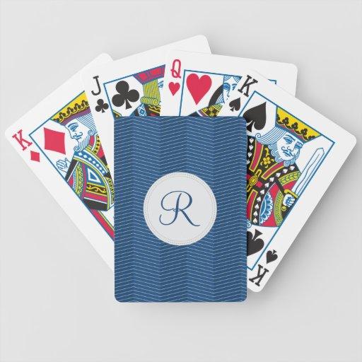 Nautical Blue Monogram Thin Chevron Pattern Bicycle Playing Cards