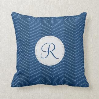 Nautical Blue Monogram Thin Chevron Pattern Throw Pillow