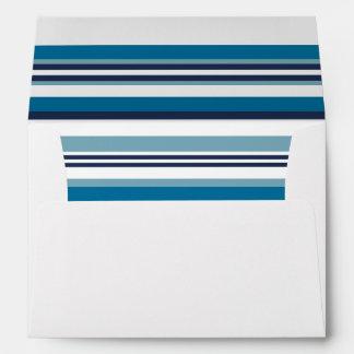 Nautical Blue Multi Stripe Liner w/ Return Address Envelope
